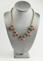 "21"" J Crew Statement Necklace Purple Coral Resin Medallions Rhinestone Accent - $30.00"