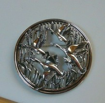 Vintage Sarah Coventry Shiny Silver-tone Flying Geese Pendant Brooch - $19.31