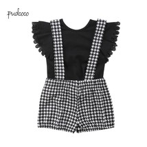 Pudcoco 2019 New brand Toddler Kid Baby Girl T shirt Top Plaid Straps Pa... - $10.69