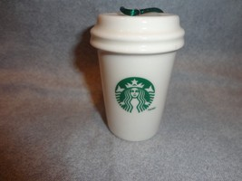Starbucks 2011 Green And White To Go Cup Ornament Ceramic No Packaging - $12.82