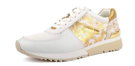 MICHAEL Michael Kors Women's Allie Trainer Sneakers, Optic White/Gold, 8 M US - $125.00