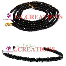 """Natural Black spinel 3-4mm Beads Beaded 22"""" Necklace 7"""" Bracelet Jewelry Set - $21.57"""