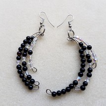 Black and White Feather memory wire dangle waterfall earrings - $15.00