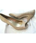 RAMPAGE GRACE Gold Glitter HIGH Heels Peep Toe Size 10 PLATFORM - $4.95