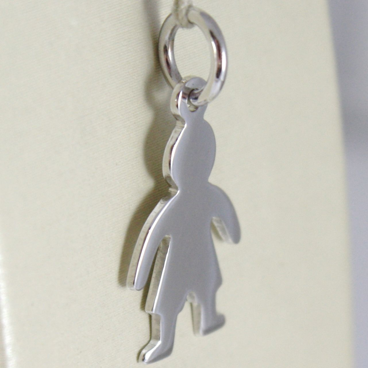 WHITE GOLD PENDANT 750 18K, CHILD, CHILD LONG 2.3 CM, PLATE FOR INCISION
