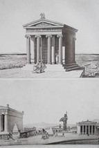 ATHENS Acropolis Perspective View & Temple of Nike - 1905 Heliogravure P... - $53.96