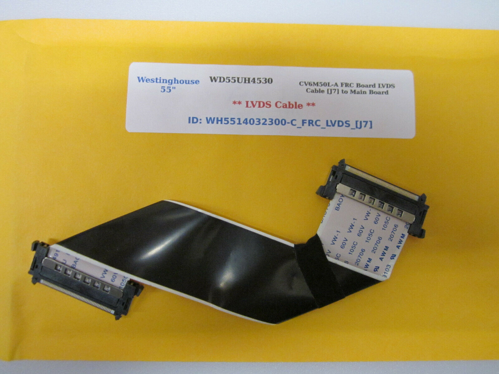 "Primary image for WHWestinghouse 55"" WD55UH4530 CV6M50L-A FRC Board LVDS Cable [J7] to Main Board"