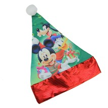 "Disney 15"" Disney Mickey Mouse Friends Children's Green Santa Hat Red Trim - €7,61 EUR"