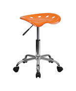 Offex OF-LF-214A-ORANGEYELLOW-GG Vibrant Orange Tractor Seat and Chrome ... - $56.83