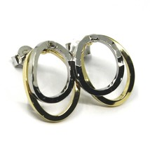 """18K YELLOW WHITE GOLD PENDANT EARRINGS ONDULATE DOUBLE SQUARED OVAL 1.7cm, 0.67"""" image 1"""
