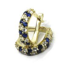 18K YELLOW GOLD MINI 10mm CIRCLE HOOPS EARRINGS, BLUE & WHITE CUBIC ZIRCONIA image 4