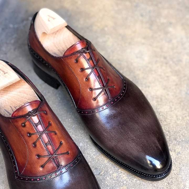 Primary image for Men's Handmade Two Tone Brown Patina Leather Dress Shoes, Formal Leather Shoes