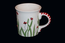 Libby Wilkie HUGE Embossed Ladybug Grass Mug Red Striped Handle Bright NEW DISC - $14.99