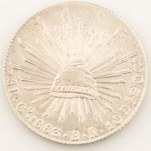 1883-go BR MEXICO 8 REALES Moneta d'ARGENTO AU GUANAJUATO COME NUOVO Gob... - $88.53