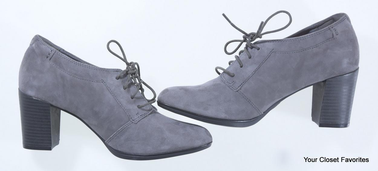 Clarks Araya Hale Ankle Bootie 6.5 7 8 8.5 11 Grey Suede Leather High Heel Shoes