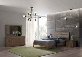 ESF Storm Ash Grey Walnut Matte Finish Queen Size Bed Contemporary Made in Italy