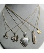 5 PC Lot Sterling Silver Pendant Necklace Heart Locket Butterfly Crown J... - $32.65