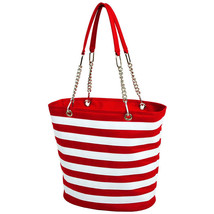 Picnic At Ascot Fashion Cooler Beach Camping Tote Red Stripe - $40.00