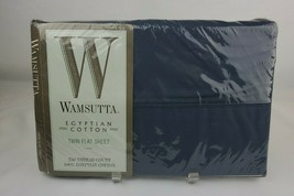 Vintage Wamsutta Blue 250 TC 100% Egyptian Cotton Twin Flat Sheet Made USA - $23.01