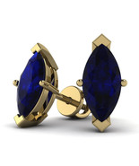 2 Cttw Marquise Shape Blue Sapphire Solitaire Stud Earrings In 10K Yello... - $126.71