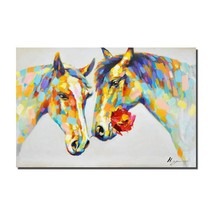 Crescent Art Horse Flower Wall Art Animal Oil Painting on Canvas Print W... - $49.88