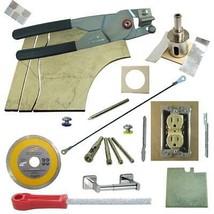 "Tile Cutter Kit 13pc LH Jigsaw Rodsaw Grinder File Diamond Drills 1 3/8"" Holesaw - $101.92"