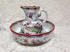 Antique, English Mason's Style Gaudy Blue Willow 12in Wash Bowl-8in Pitcher Set - $170.95