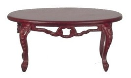 Dollhouse Miniature Fancy Victorian Coffee Table, Mahogany Finish #B7754 - $32.24