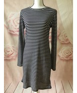 MICHAEL KORS NWT STRIPE RIBBED KNIT LONG SLEEVE TEE DRESS TRUE NAVY/WHIT... - $55.00