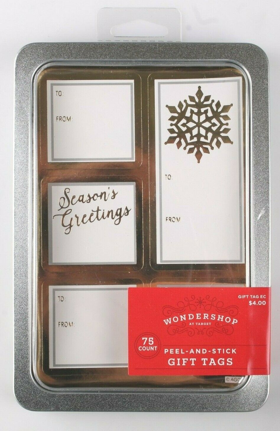 Season's Greetings 75 Count Peel & Stick Christmas Gift Tags To From Sticker NEW