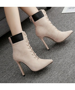 8Cb140 Elegant lady's lace-up booties, finest suede leather size 5-10, a... - $58.80