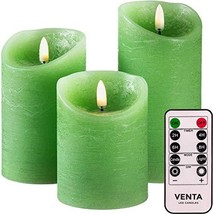 Set of 3 Realistic Flameless Green LED Candles with Remote Control - $25.27