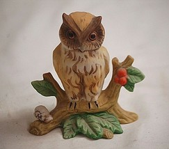 "Vintage Horned Owl w Snail on Peach Tree Limb Bisque Figurine 3-3/4"" Tall - $9.89"