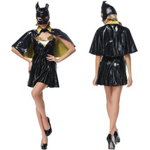 Halloween Adult Batgirl Batwoman Cosplay Costume Dress with Cloak - $34.11