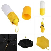 Mini Pocket Umbrella Anti UV Compact in Capsule Case Yellow - $14.54