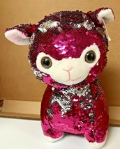 Goffa Sequin Flip Llama Red and Silver Plush - $12.00