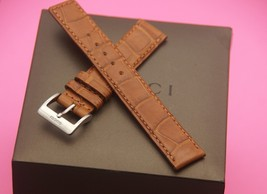 New Gucci 17 MM Brown Crocodile Watch Band - Reg - with Silver Clasp - (17.134C) - $44.95