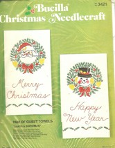SANTA & SNOWMAN Pair Guest Towels Vtg Bucilla Christmas Needlecraft Kit - $17.47