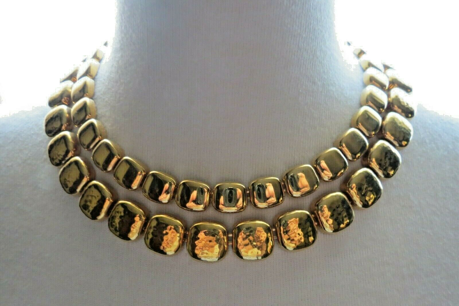 """Monet Necklace Gold Plated Double Links 17"""" Designer Square Hammered NICE image 4"""