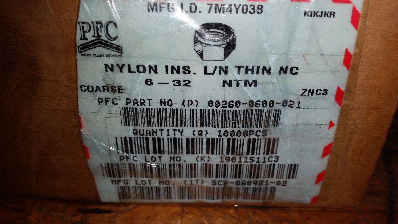 10,000 pcs  Nyloc #6 Hex Machine Nuts 6-32 NC Zinc Plated Nylock nylon insert