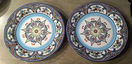 "Lot of 2 Euro Ceramica ZANZIBAR Ceramic Glazed 11"" Dinner Plates  - Ex - $14.20"