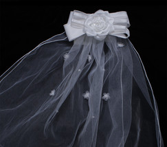 Bonnie Jean Girls White Double Bow Double Layer Tulle Veil image 2