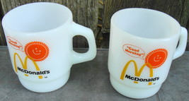 Vintage Anchor Hocking Fire King McDonald's Good Morning Stackable White Mugs (4 - $38.00