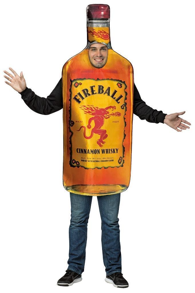Fireball Costume Adult Bottle Get Real Alcohol Halloween Party Unique GC4253