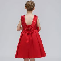 Red Satin Pricess Flower Girl Dress 2019 Cheap Ball Gown Wedding Kid Party Gowns image 3