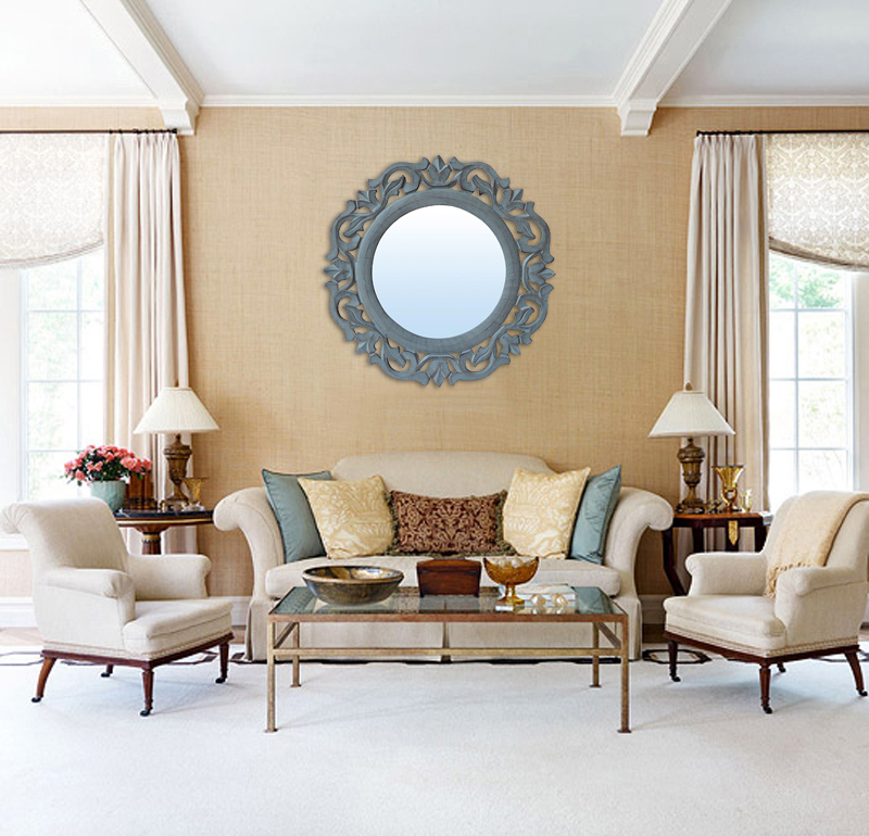 """Decorative & Hand Carved Round Wall Mirror in Shabby Gray Finish, Size : 14""""x14"""""""