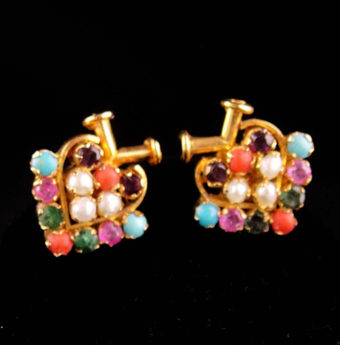 Gemstone Navaratna necklace - Vintage emerald Heart - pearl sapphire diamond rub