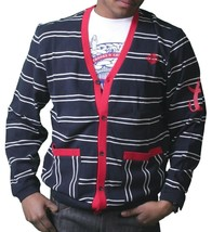 Crooks & Castles Dark Navy White Red Knit Cotton Devil Cardigan Sweater NWT image 1