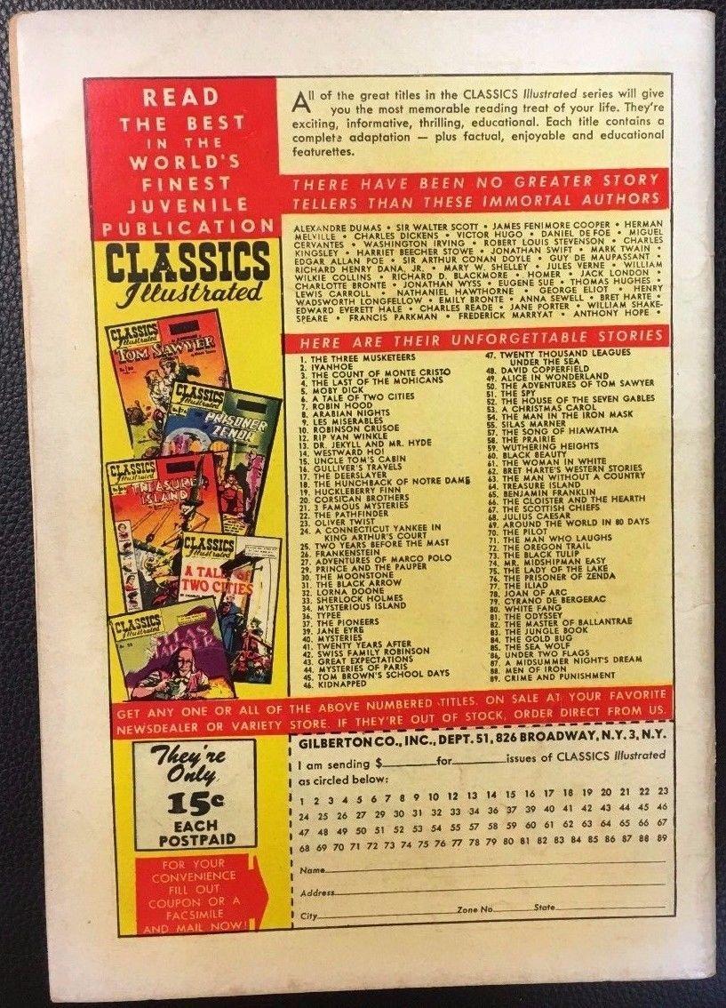 CLASSICS ILLUSTRATED #89 Crime & Punishment Dostpyevsky (HRN 89) 1951 VG+/F- 1st