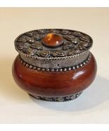 Gemstone Oval Small Trinket Box Ring Holder Vintage Amber Brown Silver H... - $45.00